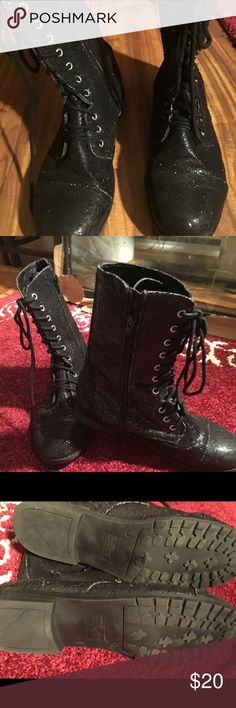 Sparkling boots! Amazing pair of black sparkly boots that zip in the side and have lace ups as well... these are the cutest boots and will soft site turn heads!💥💥Balera sz 8 barely worn😉 balero Shoes Combat & Moto Boots