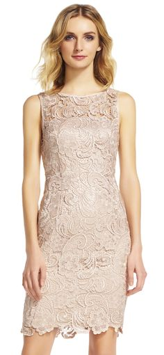 embroidered lace sheath dress by Tadashi Shoji. This gossamer lace dress shimmers with metallic embroidery illustrating luxe flowers all around. Tan Dresses, Short Bridesmaid Dresses, Bridal Dresses, Bridesmaids, Most Expensive Dress, Lace Sheath Dress, Bodycon Dress, Groom Dress, Embroidered Lace