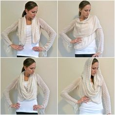 Convertible fringed cardigan sewn from clearance scarves.