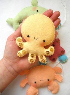 PDF pattern - Four cute sea creatures - octopus, whale, starfish and crab - DIY felt ornaments, baby crib mobile super kawaii little folk Fabric Crafts, Sewing Crafts, Sewing Projects, Craft Projects, Craft Ideas, Felt Projects, Baby Crafts, Crafts For Kids, Felt Crafts Diy