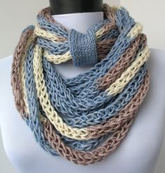 Scarf necklace-loop scarf-infinity scarf-neck warmer- and knitted- cashmere- in blue,white and cappuccino