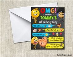 Emoji movie birthday party invitation text conversation chalkboard
