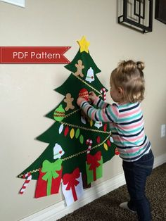 Felt Christmas Tree Digital Pattern No Sew Diy Printable Pdf Large 3 Feet Tall Kids Decorate Toy Activity Preschool Holiday Fun