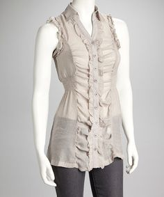 Take a look at this Light Gray Ruffle Semi-Sheer Sleeveless Button-Up by Buy in America on #zulily today!