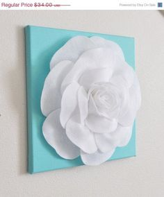 Mothers Day Rose Wall Hanging White On Aqua Blue Solid 12 X12