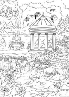 Elegant Garden Printable Adult Coloring PagesColoring