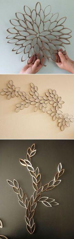 wall art from toilet paper rolls Toilet Paper Roll Art, Rolled Paper Art, Toilet Paper Roll Crafts, Diy Paper, Home Crafts, Diy And Crafts, Deco Table Noel, Creation Deco, Diy Wall