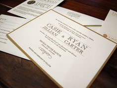 Letterpress invitation - vintage inspired with a casual elegance. Recycled Kraft Paper backing card. Available at On Paper 614.424.6617