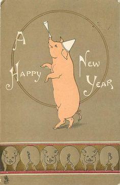 et Title: CHRISTMAS lucky pigs Set Comment embossed gilt in design CHROMOGRAPH