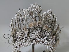 French Antique Wax Wedding Tiara, Wax  blossoms 1880's