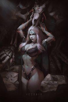 Necromancer Houxaura by VezoniaArtz on DeviantArt Fantasy Girl, Sci Fi Fantasy, Dark Fantasy, Fantasy Women, Gothic Horror, Arte Horror, Horror Art, Dark Gothic Art, Dark Art