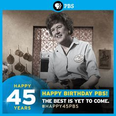 #Happy45PBS! Monday, November 4th is PBS' birthday. We can't imagine a world without Julia Child!