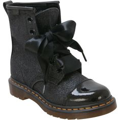 Dr. Martens Women's Gracie R15926001 Lace-Up Boot ($150) ❤ liked on Polyvore featuring shoes, boots, black, black shoes, oil resistant shoes, black lace up boots, laced boots and black glitter shoes