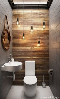 Modern contemporary small bathroom with a rustic touch
