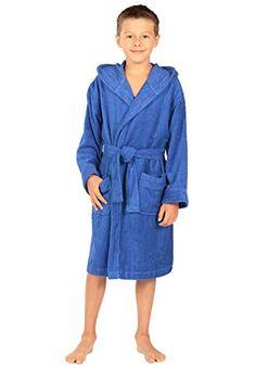 Texere Boy s Hooded Terry Cloth Bathrobe (Blue Splash 551bb81cd