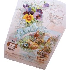 VICTORIAN Trade Card - New Home Sewing Machine Co - Men Fishing - Pansies!