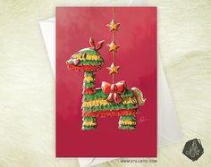 Carte de voeux Lama Piñata de Noël