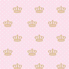 Promoção Papel de Parede Coroas em Bege, Poá Branco Sobre Fundo Rosa Claro, Somente 1 rolo Disponivel de 2,50X0,58