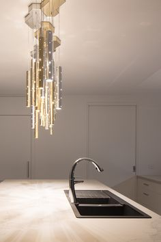 Kitchen feature lighting #integratedfridge #mixertap #frankesink Franke Sink, Integrated Fridge, Mixer Taps, Townhouse, Home And Family, Chandelier, Ceiling Lights, Contemporary, Lighting