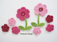 Crochet patches – Häkelblumen – a unique product by Prinzessin-Design on DaWanda