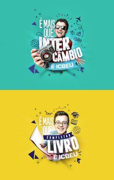 Campanha desenvolvida para a Escola de Inglês ICBEU (Manaus). - Unternehmens- und Werbedesign - Entwurf World Ads Creative, Creative Posters, Creative Advertising, Advertising Design, Creative Design, Creative Flyers, Graphisches Design, Flyer Design, Branding Design