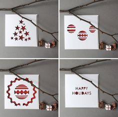 mrYen Hand Cut Papercut Christmas Cards