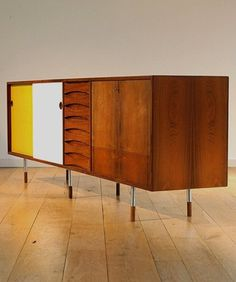 Awesome 32 Original Mid Century Sideboards With Yellow White Wooden Sideboard And Wooden Floor And White Wall Color