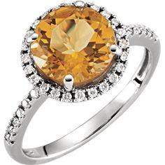 14K White Gold Round Genuine Citrine & 1/6 CTW Diamond Halo Ring- Sparkle & Jade-SparkleAndJade.com[product_sku]