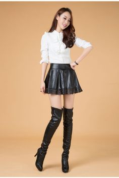 Lamb Leather Mini Flare Skirt Genuine Leather Mini Skirt Lamb Leather Skirt Gather Skirt Ladies Ruffle Skirt 5 Sizes Available Black: trendy me-Online Shopping-Yahoo! Leather Dresses, Leather Mini Skirts, Sexy Asian Girls, Beautiful Asian Girls, Skirts With Boots, Sexy Boots, High Boots, Latex Fashion, Steampunk Fashion