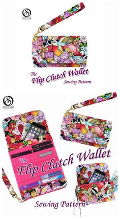 Here's a pattern for you to create a beautiful spacious ladies wallet and phone case, The Flip Clutch Wallet. Brilliantly designed, this purse is the perfect accessory for carrying all your essentials: coins, cards, notes. It even has a handy compartment Clutch Bag Pattern, Wallet Sewing Pattern, Sew Wallet, Clutch Wallet, Diy Wallet Phone Case, Long Wallet, Bag Patterns To Sew, Sewing Patterns, Quilted Purse Patterns