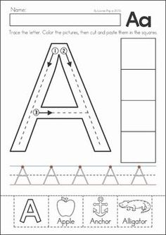 Preschool, Kindergarten, Back to School No Prep Worksheets and Activities. A page from the unit: letter tracing with cut and paste