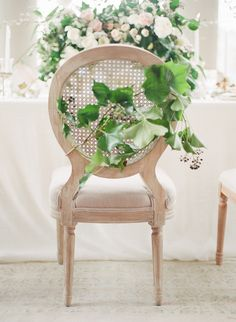 Chair groom and bride. Chair decor. Photography: Vasia Photography - www.vasia-weddings.com Photography: Artiese Studios - artiesestudios.com   Read More on SMP: http://www.stylemepretty.com/2015/05/17/elegant-ethereal-wedding-inspiration/