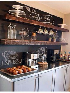 Coffee Bar Ideas - Looking for some coffee bar ideas? Here you'll find home coffee bar, DIY coffee bar, and kitchen coffee station. Coffee Bars In Kitchen, Coffee Bar Home, New Kitchen, Kitchen Decor, Kitchen Ideas, Coffee Shop, Coffee Corner, Kitchen Wood, Kitchen Buffet