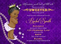 African American Baby Shower Invitation Girl and FREE Thank You Card Printable - Vintage Royal Baby Shower Invite Purple Gold Pearls