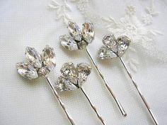 BRIDAL jewelry - hair pins, wedding hair jewelry, vintage style, wedding hair ACCESSORIES, bridesmaid gift, Rhinestone Set of 4 ,. $34.00, via Etsy.
