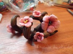 Cherry blossom dread beads Made by https://www.facebook.com/dinowsdreadbeads