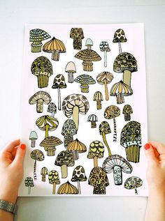 Magic Mushroom Illustration Art P r i n t by misssooprintshop, $15.00