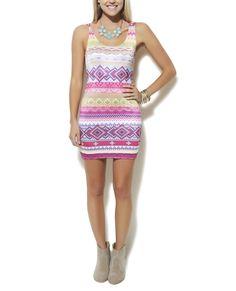 Neon Aztec Bodycon Dress - Bodycon