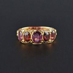 Antique Georgian 18K Gold Garnet Band Ring