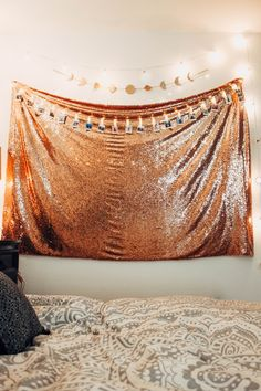 Lady Scorpio | @Ladyscorpio101 ☽☽ ladyscorpio101.com ☆ Perfect Bedroom Decor for the Hippie at heart ♡ Alexa Halladay designing a Boho Bungalow - Rose Gold Sequins Tapestry with Copper Fairy Lights! Including Moon Lunar Phase Wall Hangings! Polaroid Photos & clips from Camera