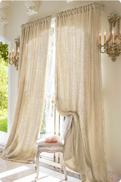 LOVE the look of these raw silk drapes...they seem gauzy and light, yet substantial...and there's still some sheen b/c they're silk...