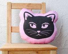 Organic Pink Cat Pillow - Eco-Friendly Baby Toddler Stuffed Pillow Cushion Toy - Modern Kids Home Decor