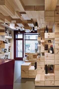 albert reichmuth wine store | recycled wine boxes | shelving + display