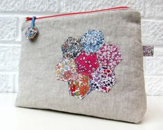 Liberty hexie and linen pouch 1 by Very Berry Handmade, via Flickr