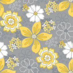 grey flower and yellow dot fabric   Gray and Yellow Floral Fabric Gray Matters Camelot by FabricNerds