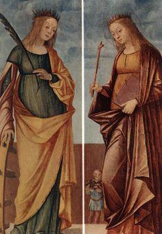 CARPACCIO, Vittore St Catherine of Alexandria and St Veneranda c. 1500 Tempera on panel Museo di Castelvecchio, Verona