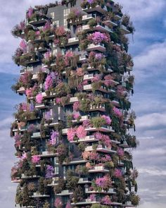 """The """"Bosco Verticale"""" (Vertical Forest) in Milan, Italy. (Photo by One of two residential towers in the Porta Nuova district. Each tower has 900 trees, shrubs and floral plants which help mitigate smog and produce oxygen. Unusual Buildings, Amazing Buildings, Green Architecture, Beautiful Architecture, Ancient Architecture, Vertical Forest, Beautiful Places To Travel, Places Around The World, Places To See"""