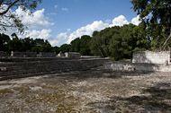 Puuc Patio at Edzna - edzna mayan ruins,edzna mayan temple,mayan temple pictures,mayan ruins photos