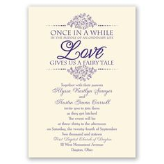 fairy tale love wedding invitation shown on ecru. printed with gorgeous raised ink for less than $.90 an invitation. also available on white paper stock.