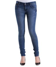 Love this Medium Blue Whiskered Skinny Jeans on #zulily! #zulilyfinds